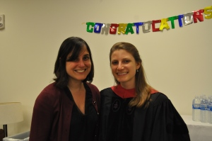 Sabi Ardalan and Graduate Jessica Frisina J.D. '14 at HIRC's graduation celebration on Commencement Day