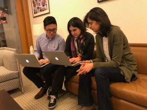 From left: Jin Kim, JD '18, Sabi Ardalan, Assistant Director, HIRC, and Mana Azarmi, JD '17